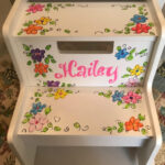 Hand Painted 2 Step Stool Flowers