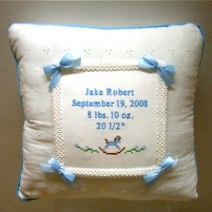 Monogrammed Linen Hemstitch Pillow
