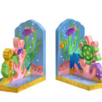 Wood Bookends  under the sea