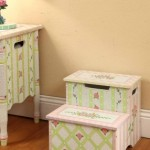 Step Stool with Storage  crackle rose