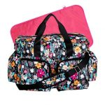 Turquoise Floral Deluxe Duffle Style Diaper Bag