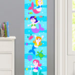MERMAIDS PERSONALIZED KIDS CANVAS GROWTH CHART