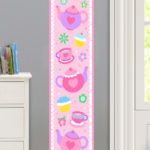 TEA PARTY PERSONALIZED KIDS CANVAS GROWTH CHART