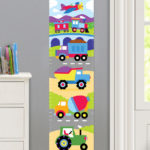 TRAINS, PLANES AND TRUCKS PERSONALIZED KIDS CANVAS GROWTH CHART
