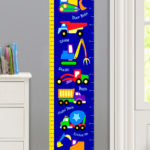 UNDER CONSTRUCTION PERSONALIZED KIDS CANVAS GROWTH CHART