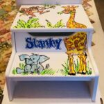 Jungle Animals Step Stool White