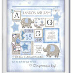 Birth Art Stats-Elephant-white