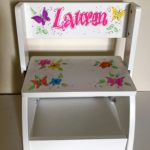 White Flip Stool Butterfly & Flowers