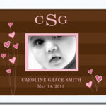 Chocolate Stripe_Pink Hearts Name Border Frame