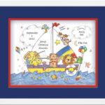 Classic Print 11x14 Noah's Ark Blue Mat