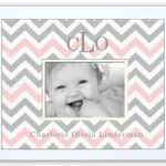 Pink-Grey-Chevron  Monogrammed Photo Frame