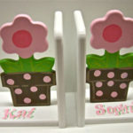 Wood Bookends  Flower Pot