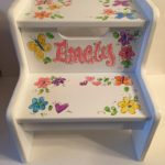 Step Stool hand painted floral & butterflys