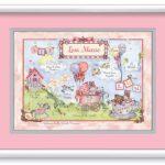 Birth Art 16x20 Baby Cradle Pink