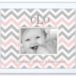 Pink-Grey-Chevron  Monogrammed Photo Frame