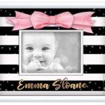 Frame stripes-black-white pink-bow