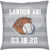 Birth Stats Pillow Baseball and Glove White text Grey Background