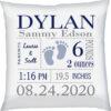 Birth Stats Pillow Boy Baby Feet Navy Grey