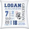 Birth Stats Pillow Boy Baseball Football Soccer Navy Grey