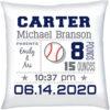 Birth Stats Pillow Boy Baseball Navy Grey
