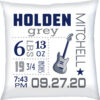 Birth Stats Pillow Boy Guitar Navy Grey