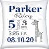 Birth Stats Pillow Boy Nursery Giraffe Navy Grey
