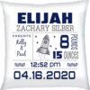 Birth Stats Pillow Boy Rocket Navy