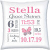 Birth Stats Pillow Girl Butterfly Pink Grey