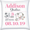 Birth Stats Pillow Girl Happy Sheep Pink Grey