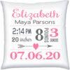 Birth Stats Pillow girl Heart Arrow Pink Green