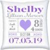 Birth Stats Pillow Girl Heart Kisses Violet Grey