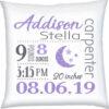 Birth Stats Pillow Girl Moon Stars Violet Grey