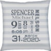 Birth Stats Pillow Grey Stripes