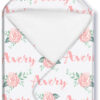Hooded Towel girl cabbage roses on white