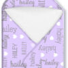 Hooded Towel girl names all over lilac