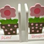 Wood Bookends  Flower Pot