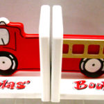 Wood Bookends  Fire Engine